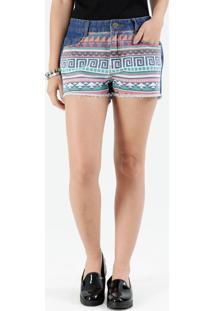 Short Feminino Jeans Estampa Étnica Marisa
