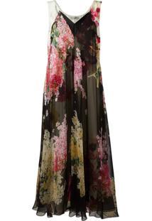 Lanvin Vestido De Seda Com Estampa Floral - Estampado