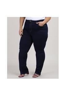 Calça Jeans Feminina Reta Cintura Média Azul Escuro
