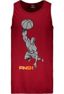 Camisetas Regata Machão And1 Slam Long Line Masculina - Masculino-Vermelho