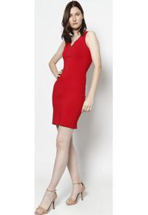 Vestido Com Vazados & Zíper - Vermelhomoiselle