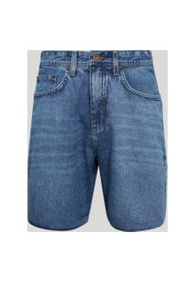 Bermuda Jeans Masculina Reta Azul Médio