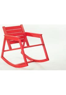 Cadeira De Balanço - Poltrona Para Varanda Janis Stain Vermelho - 60X92X80 Cm