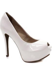 Peep Toe Salto Fino - Feminino-Branco