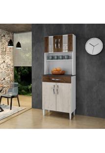 Armário De Cozinha 4 Portas 2 Com Vidro 1 Gaveta Milão Arte Móveis Cacau/Nevada