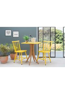 Mesa Quadrada Com 2 Cadeiras Juliette - Jatobá E Amarelo