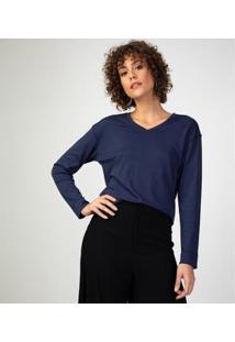 Camiseta Liz Easywear Manga Longa Feminina - Feminino-Azul Escuro