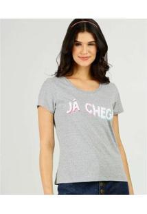 Camiseta Estampa Frontal Marisa Manga Curta Feminina - Feminino-Cinza