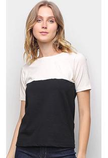 Camiseta Volare Básica Bicolor Feminina - Feminino-Off White+Preto