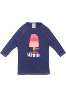 Camiseta Para Meninas Azul Poliamida infantil  1b79f83c75d