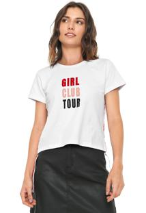 Camiseta Cropped Fiveblu Listras Laterais Branca