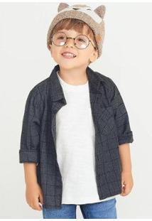 Camisa Hering Xadrez Junina Infantil Masculina - Masculino-Cinza