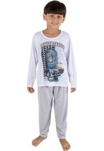 Pijama Infantil Linha Noite Malha Longo Masculino - Masculino-Cinza