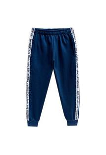 Calça Juvenil Abrange Faixa Lateral Azul Abrange Casual Azul Marinho