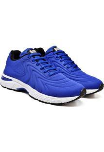 Tênis Masculino Cadarço Confortável Leve Caminhada Dia A Dia - Masculino-Azul