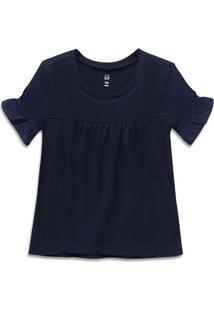 Camiseta Infantil Gap Lisa Manga Babado Feminina - Masculino-Marinho