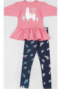 Conjunto Infantil De Blusa Lhama Manga Longa Rosa + Calça Legging Estampada De Cactos Azul Marinho