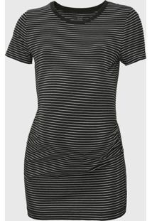 Camiseta Gap Gestante Listrada Preta