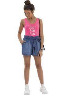 Body Infantil Gloss Canelado Feminino - Feminino-Rosa