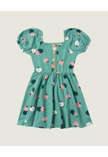 Vestido Maçãs Cotton Menina Malwee Kids Verde Claro - 10
