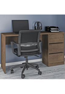 Mesa Para Computador 3 Gavetas 5105R Mocaccino Rústico - Atualle Móveis