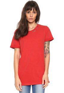 Camiseta Replay Rasgada Vermelha