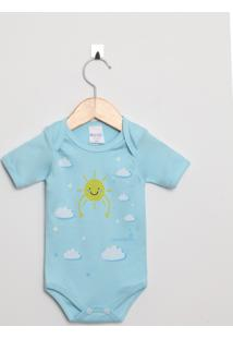 Body Bebê Manga Curta Suedine Menino Azul Claro Sol E Nuvens