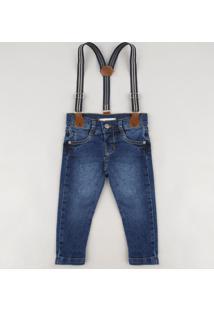Calça Jeans Infantil Skinny Com Suspensório Azul Escuro