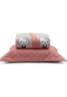 Kit Cobreleito Total Mix Jr 150 Fios Hello Kitty Infantil - Artex - Rosa