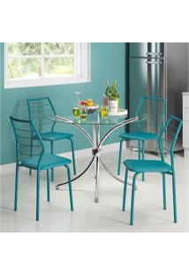 Mesa 375 Vidro Incolor Cromada Com 4 Cadeiras 1716 Turquesa Carraro