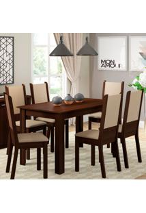 Conjunto De Mesa Com 6 Cadeiras De Jantar Tabáta Linho Tabaco Pérola