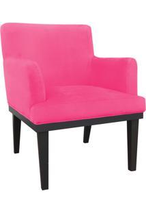 Poltrona Decorativa Vitória Para Sala E Recepção Suede Rosa Barbie - D'Rossi