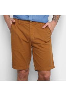 Bermuda Sarja Reserva Slim Fit Color Masculina - Masculino-Caramelo