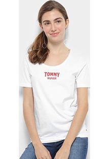 Camiseta Tommy Hilfiger Tyara Scoop-Nk Feminina - Feminino-Branco