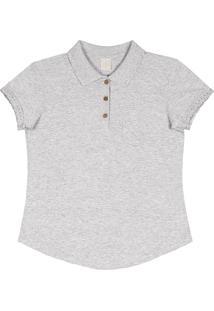 4640f2e18b Camisa Polo Lecimar Meia Malha Primavera Com Bolso Detalhe Na Manga Gg Cinza