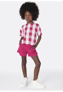 Conjunto Infantil Menina Blusa Estampada E Shorts