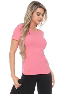 Camiseta Alto Giro Recorte Rosa