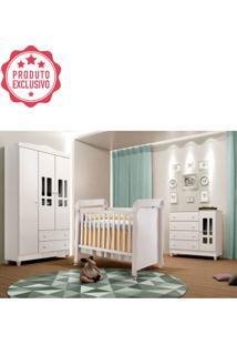 Dormitório Gabi Guarda Roupa 3 Portas Cômoda Berço Mirelle Branco Carolina Baby