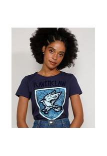 Camiseta Feminina Manga Curta Harry Potter Corvinal Flocada Decote Redondo Azul Marinho
