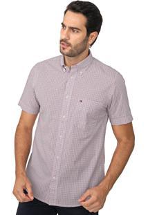 Camisa Tommy Hilfiger Reta Quadriculada Branco/Vermelho