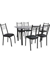 Conjunto De Mesa Granada Com 6 Cadeiras Lisboa Preto Prata E Preto Liso