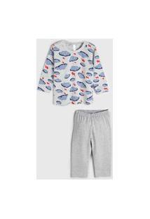 Pijama Malwee Liberta Longo Infantil Nuvens Cinza