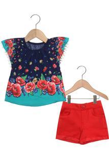 8663d8baa2a3ea Conjunto 2pçs Nanai Curto Menina Azul-Marinho/Vermelho