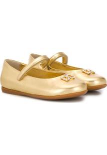 Dolce & Gabbana Kids Sapatilha Com Logo E Aplicação De Cristais - Dourado