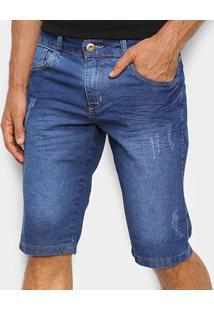 Bermuda Jeans Coffee Estonada Masculina - Masculino-Azul Claro