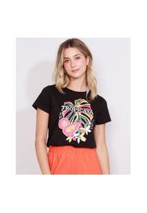 "Camiseta Feminina Manga Curta Tropicaya"" Decote Redondo Preta"""