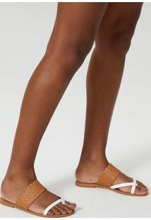 Rasteira Amaro Tress㪠E Dedo Branco - Branco - Feminino - Dafiti