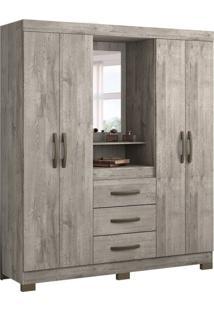 Guarda-Roupa Casal Com Espelho Capelinha 4 Pt Nude