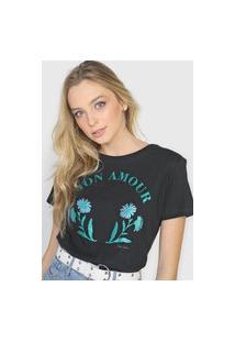 Camiseta Polo Wear Mon Amour Preta