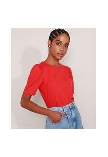 Camiseta Feminina Básica Manga Bufante Decote Redondo Vermelha